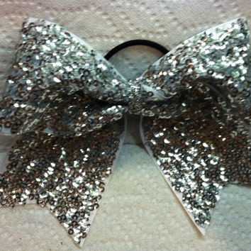 "3"", 3 inch cheer cheerleader bow silver sequins holiday-Team Bows"