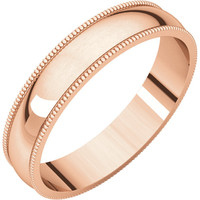 14k Rose-Pink Gold 4mm Light Milgrain Wedding Band Ring - Bridal Jewelry: RingSize: 50