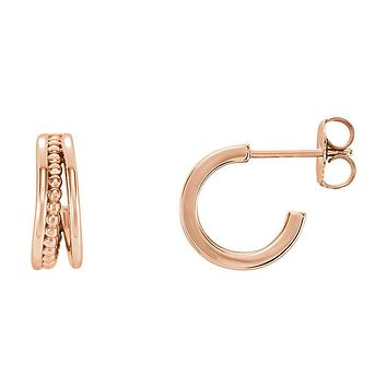 4.3 x 12mm (7/16 Inch) 14k Rose Gold Small Beaded J-Hoop Earrings