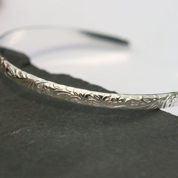 Floral Leaf Bracelet , Sterling Silver Cuff, Floral Bangle Bracelet , 6 in Silver Vine Cuff, Adjustable Cuff Bangle by Maggie McMane Designs