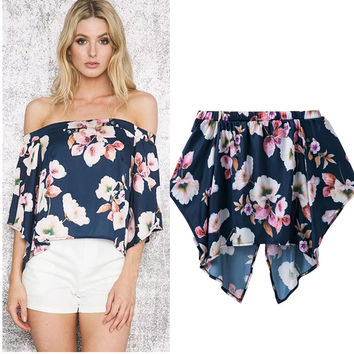 Irregular Summer Print Strapless Tops T-shirts [11641429839]