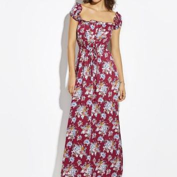 Drawstring Flower Print Backless Women's Maxi Dress