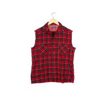vtg pendleton wool cut off flannel vest / 90s grunge buffalo plaid lumberjack / large