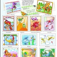 ScrapSMART - Dinosaur Robots Cards & Envelopes: Software Collection - Microsoft Word, Jpeg, PDF files [Download]