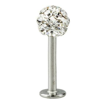 ac PEAPO2Q Cool Crystal Gem Stainless Steel Labret Piercing Stud good for Lip / Tragus / Ear Piercing silver+white