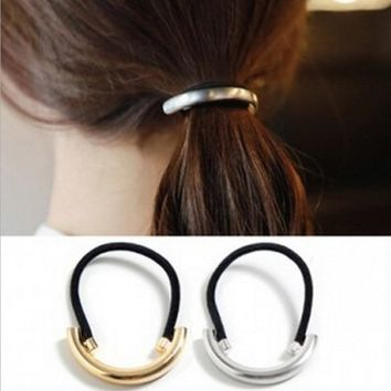 New 1PCS Cool Metal Ring Hair Ropes Cuff Wrap Tail Holder Ring Rope Elastic Hair Bands Headwear Silver/Gold Color