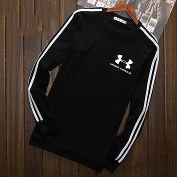 Under Armour Fashion Print Cotton Long Sleeve Sweater Pullover Sweatshirt Black G-YSSA-Z