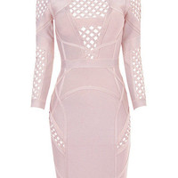 Pink Cut Out Design Backless Sexy Bandage Dress