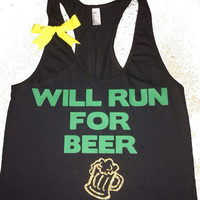 Will Run For Beer - Ruffles with Love - Fitness Tank - Womens Workout Clothing