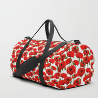 Red Poppy Pattern Duffle Bag by Tanyadraws