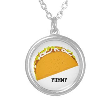 Yummy Taco Silver Plated Necklace