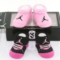 Nike Air Jordan 2 Pairs Newborn Infant Baby Booties Socks Black and Pink w/Air Jordan Logo Size 0-6 Months