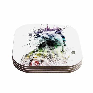 "Frederic Levy-Hadida ""Predation Instinct"" Multicolor Cat Coasters (Set of 4)"