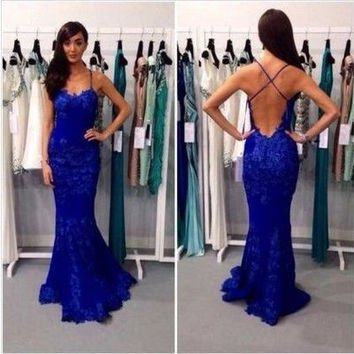 Backless Prom Dress,Royal Blue Prom Dresses,Long Evening Dress