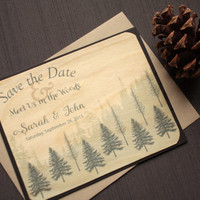 Rustic Save the Date Wood Card - Wood Save the Date Cards - Wedding Wooden Cards