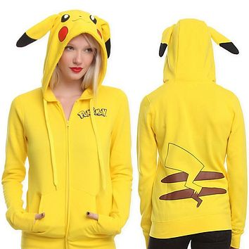 Loose Cotton Hoodies Female Hooded Pikachu Women's Sweatshirt Cartoon Zipper  go Hoodie With Ears Costumes For Women E037Kawaii Pokemon go  AT_89_9
