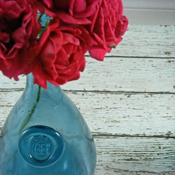 Vintage Blue Bottle Large Wine embossed seal