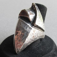 Massive Signed MARRAM Handmade Hammered Sterling Silver Modernist Artisan Ring