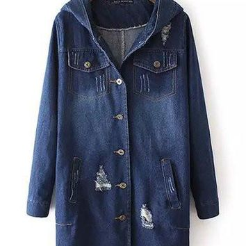 Casual Distressed Detail Longline Denim Jacket with Hood Jean Blue