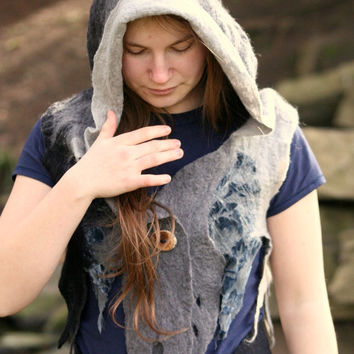 Elven hoodie vest - hippie vest - psy vest -  hooded vest - hand felted clothes - one of a kind vest