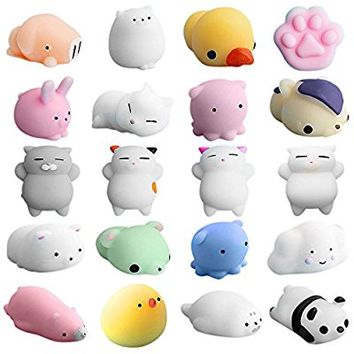 DORIC 20Pcs Squishy Toy Party Favor Mini Cute Squeeze Funny Toy Soft Stress and Anxiety Relief Toys Kawaii Phone Case DIY Decoration Rabbit Duckling Cat Pig Tiger for Kids/Adults Random Color
