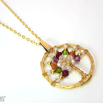Tree of life, necklace, gold filled necklace, swarovski, colourful pendant,14k gold filled, rainbow pendant, tree pendant
