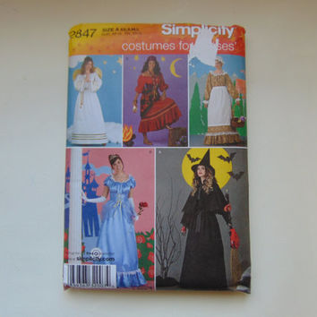 Simplicity 2847 Costumes Sewing Pattern For Adults Princess Cinderella Angel Witch Gypsy Pioneer Size A