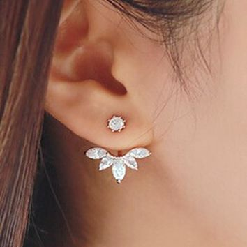Crystal Leaves Silver Tonel Stud Earrings