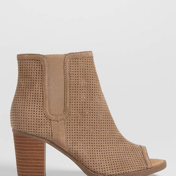 Ginger perforated faux suede bootie with peep toe in taupe | maurices