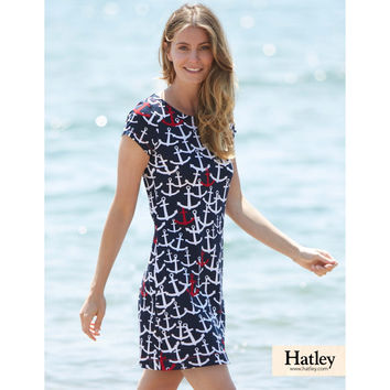 Scattered Anchors Tee Shirt Dress in Navy by Hatley