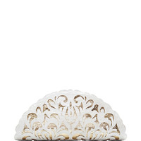 White And Gold Crocodile Skin Clutch by Nancy Gonzalez - Moda Operandi
