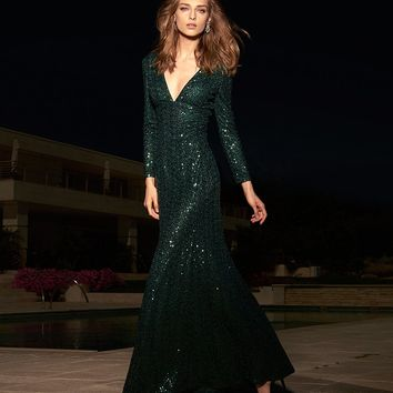Cachet Sequin Plunge Gown | Dillards