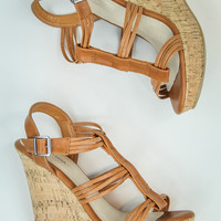 Strappy Cork Wedges in Whiskey