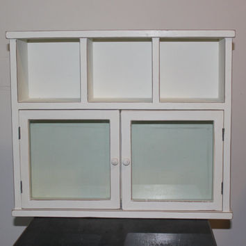 White wood display cabinet with glass doors - Medicine cabinet, knick knack shelf, entryway shelf,  painted cabinet, cupboard, white decor