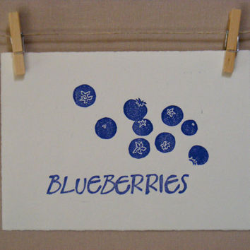 Blueberries Print  Hand Pulled Linocut  by WoodenSpoonEditions