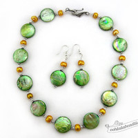 Green mother of pearl necklace earrings set green necklace wedding jewelry coin necklace bridesmaid necklace holiday gift for her under 50