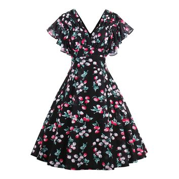 Flower Black Tea-length Plain Dating A-line Dress