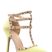 Neon Yellow Faux Nubuck Studded Pointed Toe Single Sole Heels