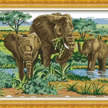 Elephants Mom and Son's Deep DMC Cross Stitch Kits Accurate Printed Embroidery DIY Handmade Needle Work Wall Set Art Home Decor