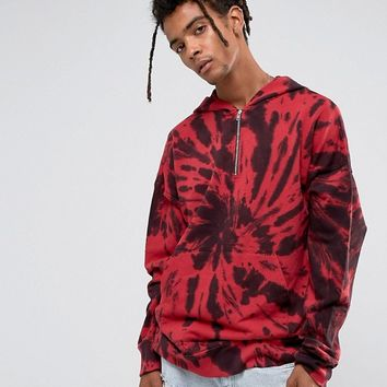 Granted Hoodie In Red Tie Dye With Quarter Zip at asos.com