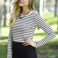 Long Sleeve Striped Crop Top Sweater