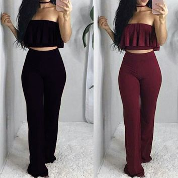 Women Sexy Pure Color Two Piece Sets Sleeveless Strapless Tube Top + High Waist Slim Long Pants