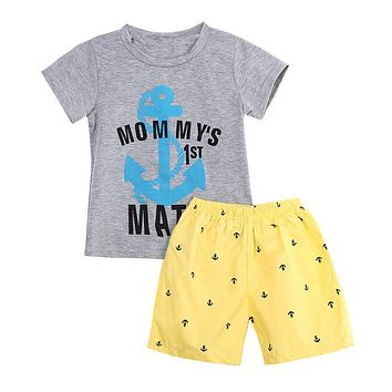 Baby Boys Summer Clothes Set Style Anchor Letters T-shirt Shorts Pants 2Pcs Baby Boy Casual Clothes  New Arrival Cotton Sets