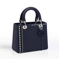 """lady dior"" bag in calfskin studded with beads and rhinestones - Dior"