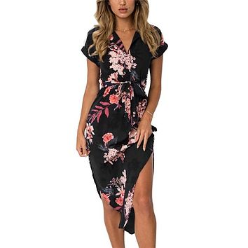 7982db4a216 Women Floral Print Beach Dress Fashion Boho Summer Dresses Ladies Vintage  Bandage Bodycon Party Dress Vestidos