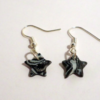Polymer clay dangle earrings black, white and silver mokume - star shaped