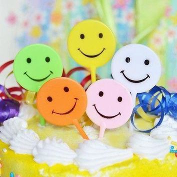 5 Retro Smiley Smile Happy Face Cake Picks Cupcake Topper Assorted Colors 90s