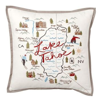 Lake Tahoe Embroidered Pillow Cover
