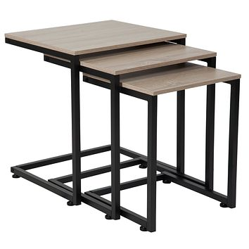Midtown Collection Wood Grain Finish Nesting Tables Metal Cantilever Base
