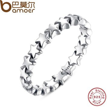 BAMOER Star Trail Stackable Finger Ring For Women Wedding 100% 925 Sterling Silver Jewelry HOT SELL PA7151